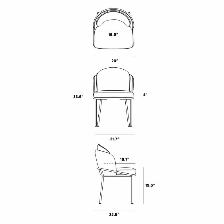 Dimensions for Angelo Dining Chair