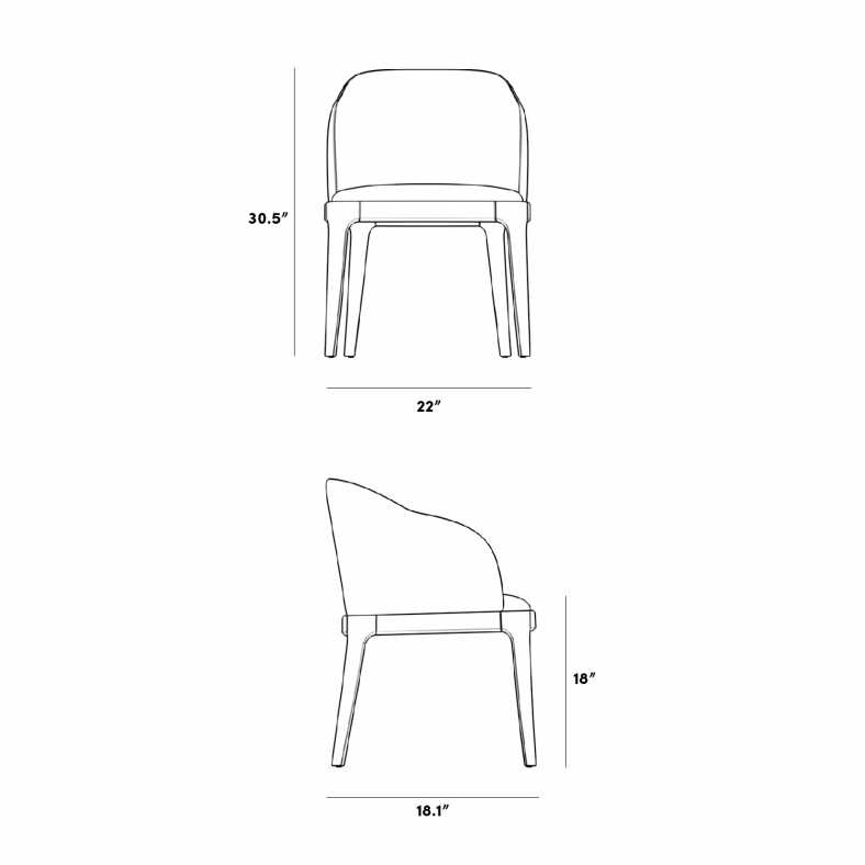 Dimensions for Aubrey Armchair