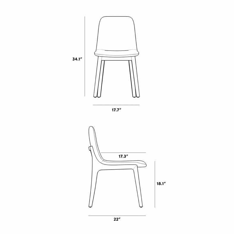 Dimensions for Aubrey Side Chair