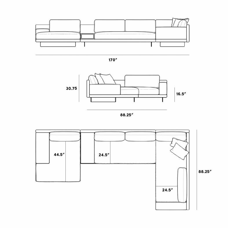 Dimensions for Dresden Modular Sectional