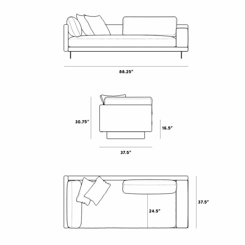 Dimensions for Dresden Left Arm Sofa