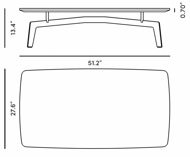 Dimensions for Evelyn Coffee Table - Rectangular