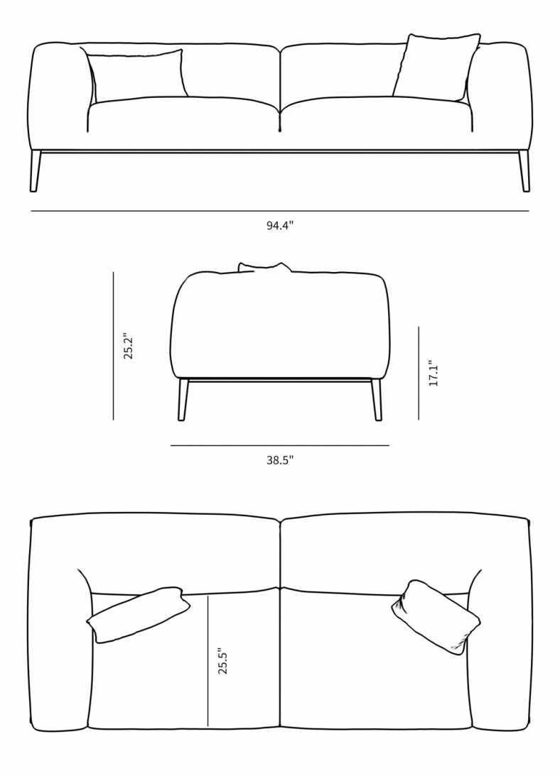 Dimensions for Finley Sofa