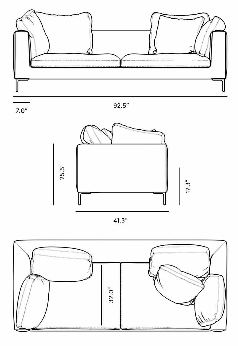 Dimensions for Hugo Sofa