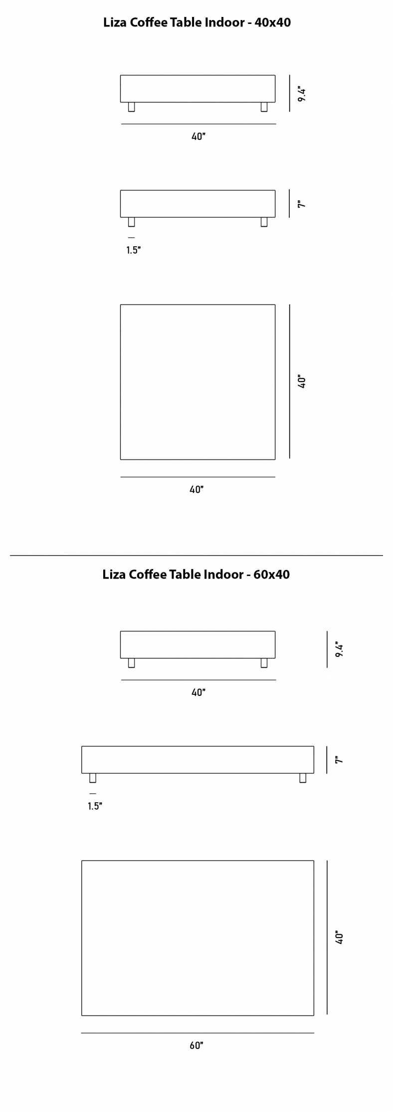 Dimensions for Liza Coffee Table - Marble
