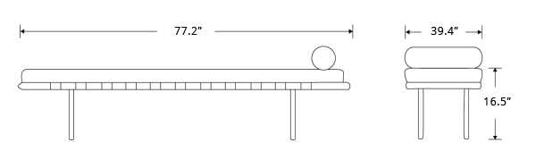Dimensions for Rove Pavilion Daybed