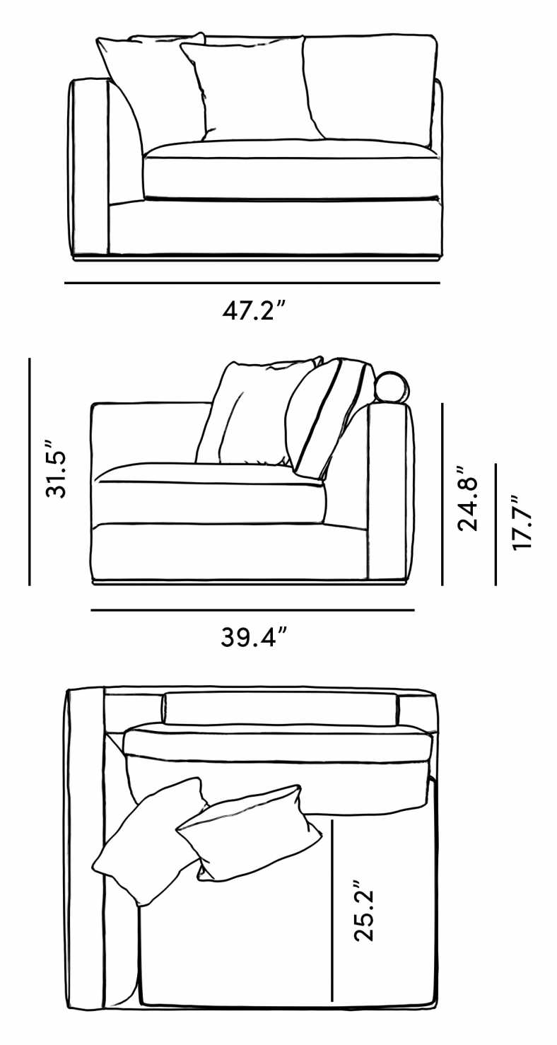 Dimensions for Milo 1-Seater - Left Arm