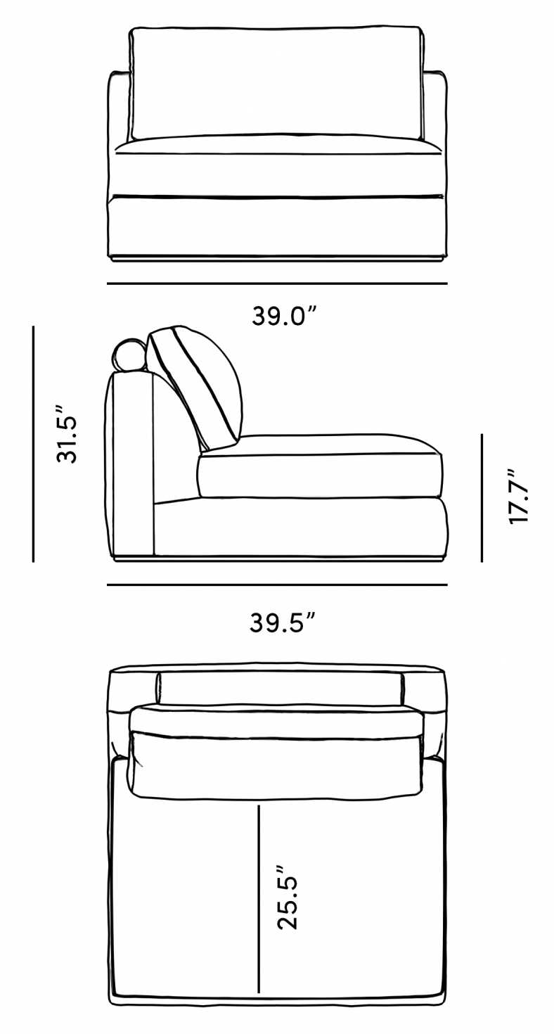 Dimensions for Milo 1-Seater - Armless