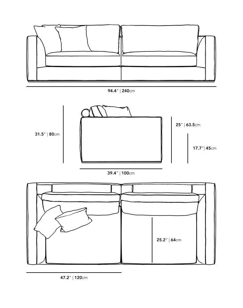Dimensions for Milo Sofa