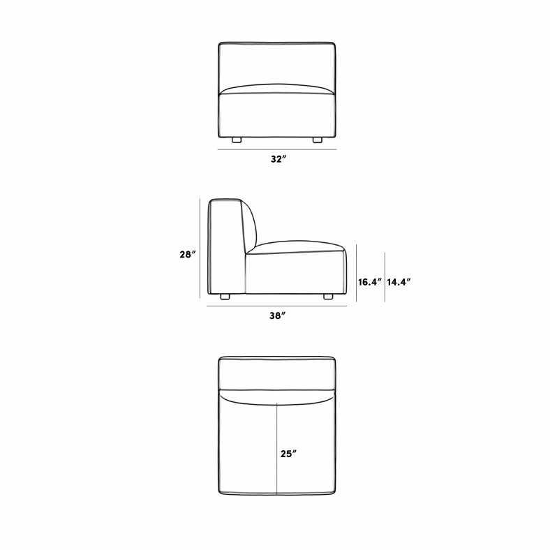 Dimensions for Portier Armless - Grande