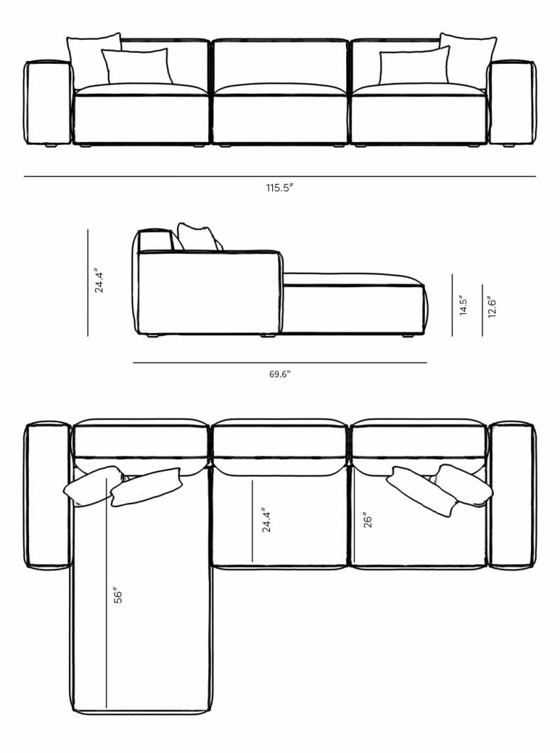 Dimensions for Porter Sectional