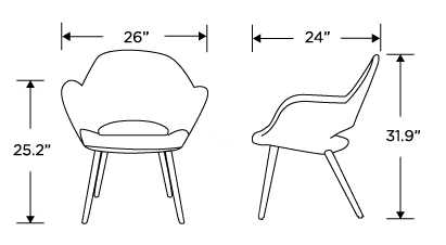 Dimensions for Executive Armchair - Steel Legs