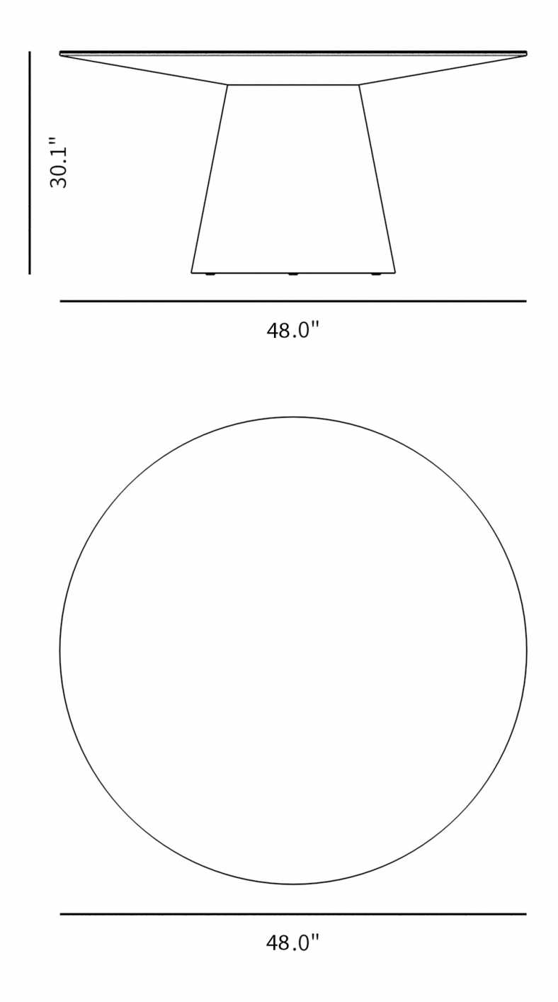 """Dimensions for Winston Dining Table - 48"""""""