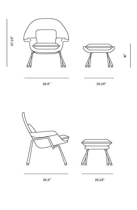 Dimensions for Womb Chair and Ottoman